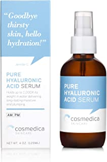 Cosmedica Hyaluronic Acid Serum for Skin – 4 Fl. Oz Hydrating Facial Moisturizer with Anti-Aging Skin Care Properties. Beauty and Skin Care