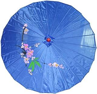 JapanBargain S-3198B, Chinese Japanese Fabric Umbrella Parasol 32-inch Diameter, Blue