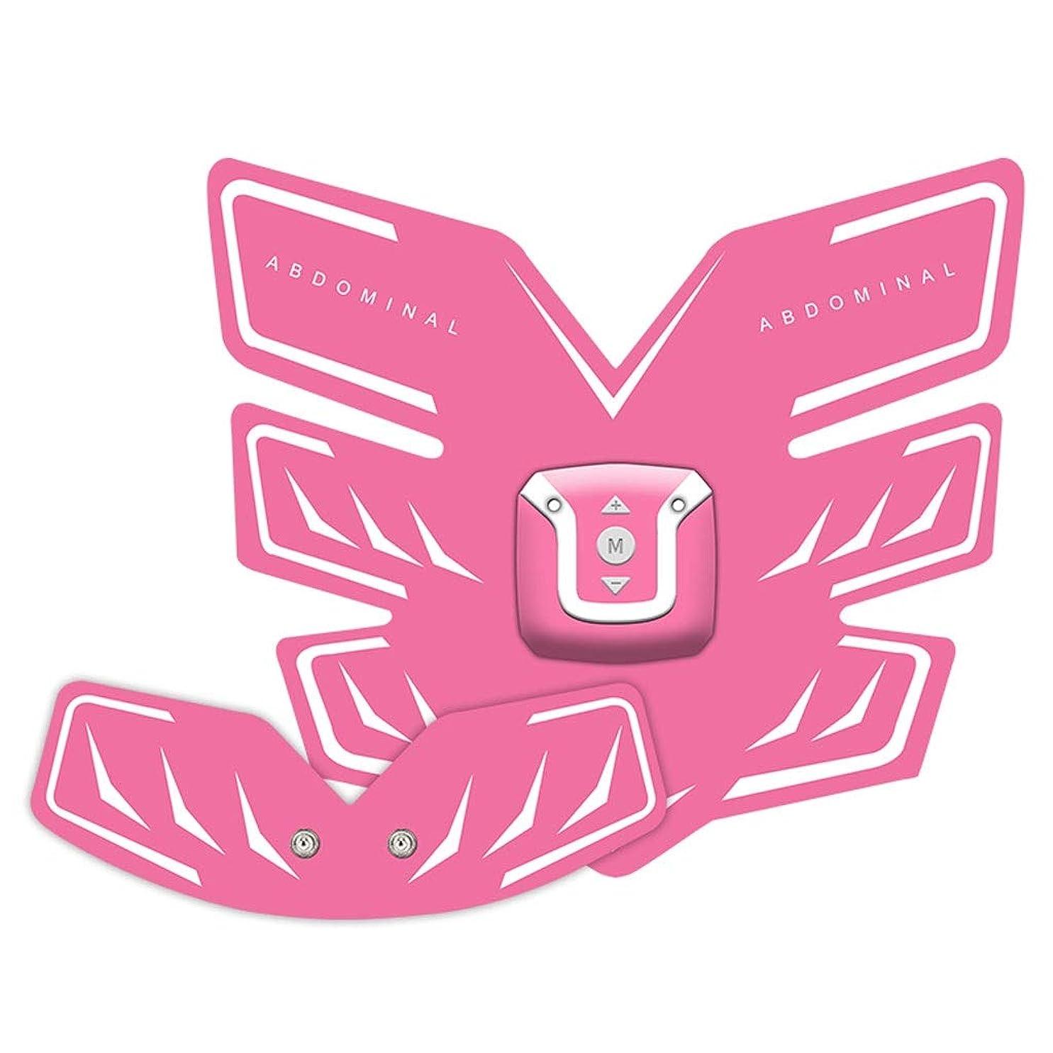 Usb充電筋肉トナー腹筋absシミュレータ腹部トレーニングワイヤレスemsトレーニングホームオフィス用腹部腕脚トレーニングホームオフィスエクササイズ (Color : Pink, Size : A+B)