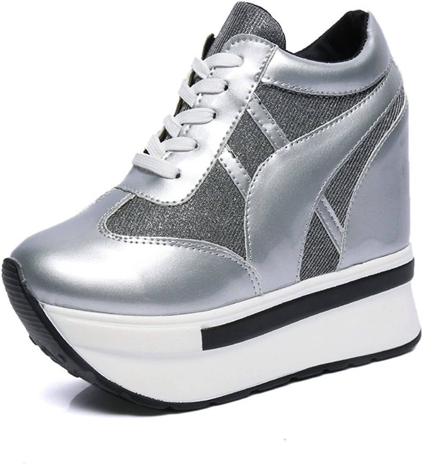The Korean version of the super high heel high sneaker in the fall mesh breathable casual shoes with platform