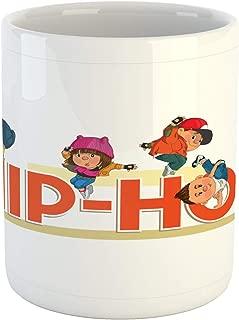 Ambesonne Hip Hop Mug, Word Hip Hop with Colorful Dancers Doing Moonwalk Floor Rocking and Windmill Moves, Printed Ceramic Coffee Mug Water Tea Drinks Cup, Multicolor