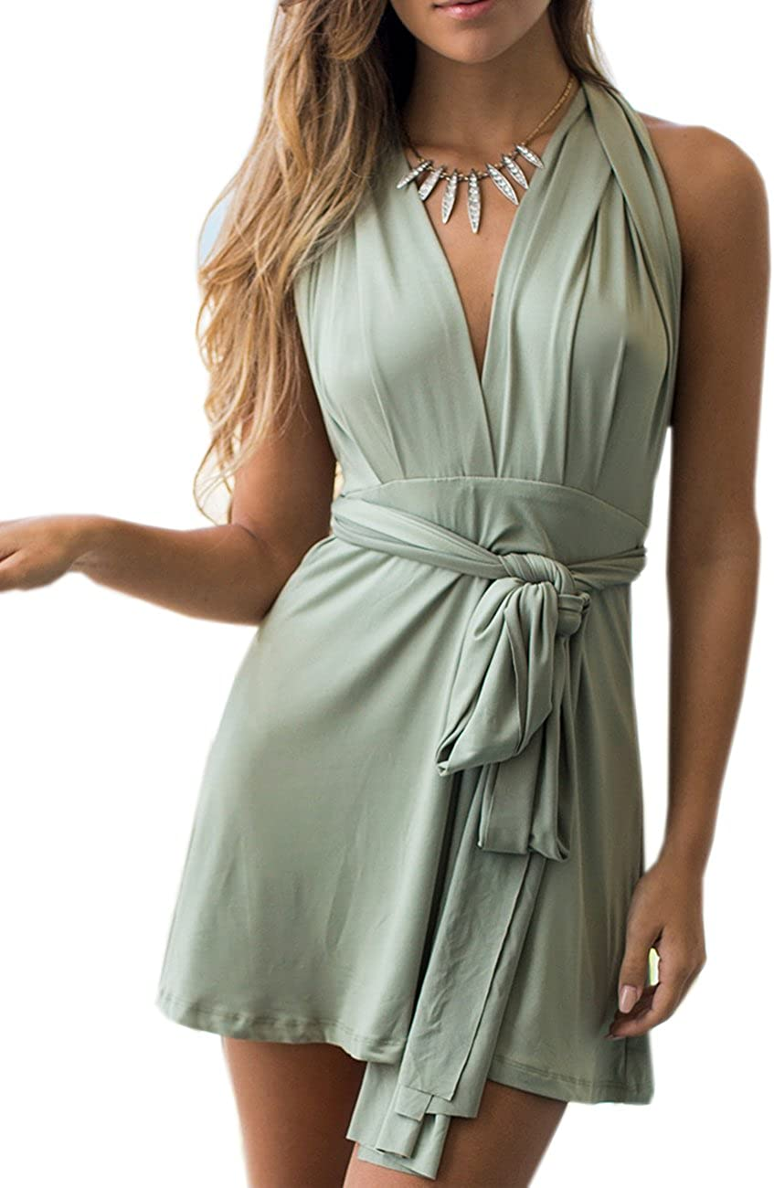 Sexyshine Women's V Neck Backless Halter Dress Multiway Convertible Wrap Cocktail Bridesmaid Party Beach Short Dress