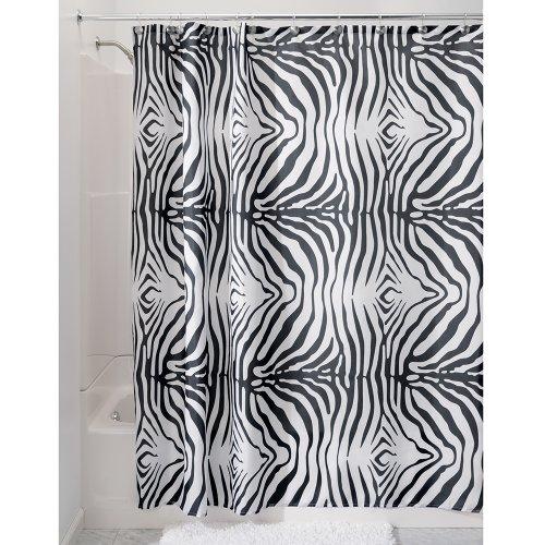 InterDesign Zebra Duschvorhang | Designer Duschvorhang mit Animal-Print | schöner Badewannenvorhang 180,0 cm x 200,0 cm im Safari-Erscheinungsbild | Polyester schwarz/weiß