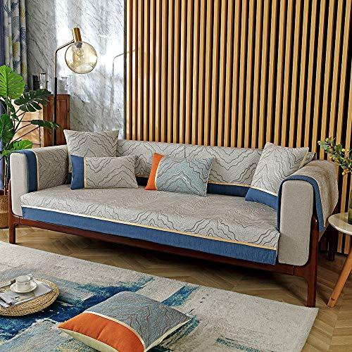 YUTJK Conjunto de sofá de Pintura Abstracta,Funda Universal para Sofá Antideslizante,Funda para Toalla de Sofá,Protector para Muebles,Acolchado de Felpa,para Verano,Gris