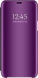 Samsung Galaxy S8/S8 Plus Mirror Case Metal Flip Stand Phone Cover Full Anti-Scratch Resistant Protective Case for Samsung S8/S8 Plus (Samsung Galaxy S8 Plus, Purple)