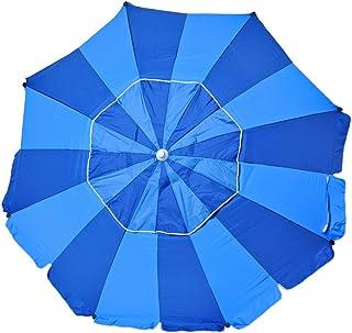 Shadezilla 7 ft Platinum Heavy Duty Beach Umbrella for Sand Patio with Reinforced Fiberglass Ribs, Carry Bag, Hanging Hook, UPF100