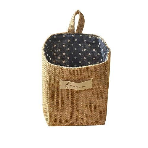ICEBLUE 5.1X5.1 Jute Wall Door Hanging Storage Bag Case Basket Home Organizer Bin