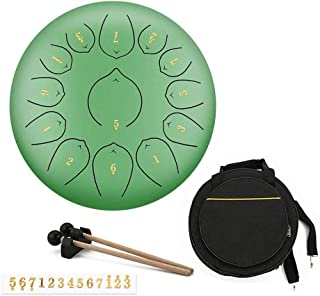 Jtkdl 12 Inch Empty Spirit Drum Worry-free Drum Lotus Drum Forget The Mysterious Empty Hand Dish Steel Tongue Drum for Beg...