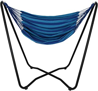 Sunnydaze Hanging Rope Hammock Chair Swing with Space Saving Stand, Beach Oasis - for Indoor or Outdoor Patio, Yard, Porch, and Bedroom