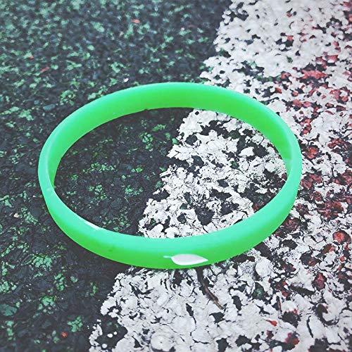YLH Hojas Simples Nuevas Pequeñas Pulseras De Silicona Frescas, Deportes Hombres Y Mujeres Salvajes Par De Cartas Pulsera De Silicona De Baloncesto (Color : Green)