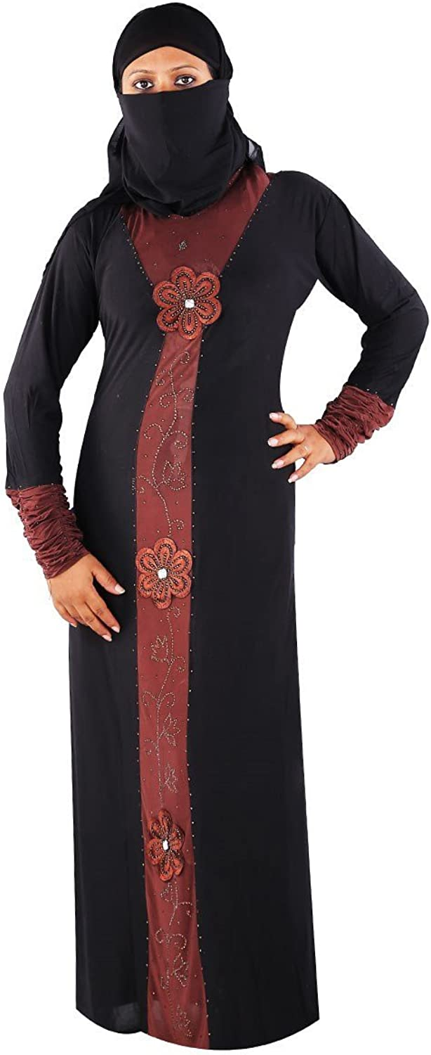 Choco Brown Floral Applique Lycra burqa