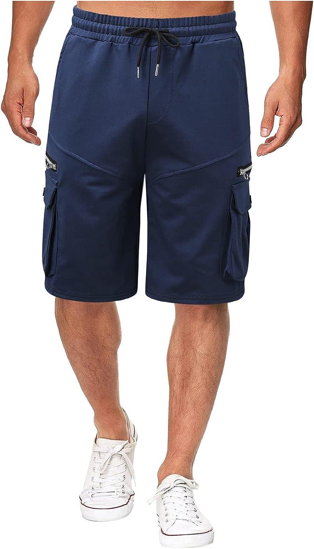 Burband Mens Casual Shorts Outdoors Cargo Shorts Elastic Waist M