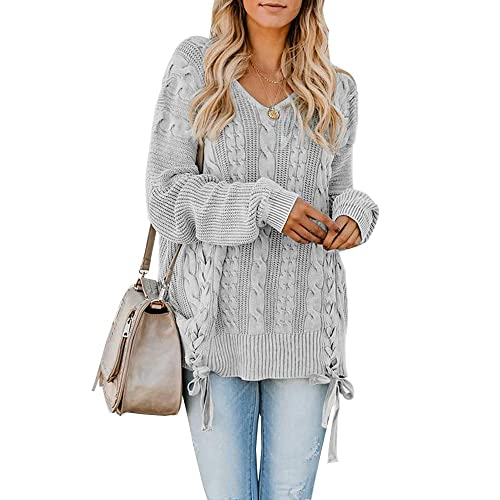 dc3cc0789 YONYWA Womens Sweaters Plus Size V Neck Oversized Cable Knit Lace Up Chunky  Pullover Sweater Tunic