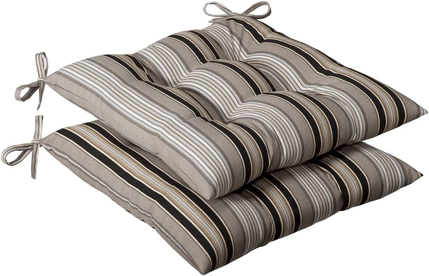 Pillow Perfect Indoor Outdoor Black Beige Striped Tufted Seat Cushion, 2-Pack
