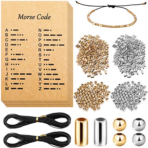 DIY Morse Code Bracelet Making Set, 800 Round Spacer Beads, 800 Long Tube Beads, 20 Morse Code Decoding Card and 2 Rolls 66 ft Waxed Polyester Twine Cord (Silver and Gold, Black Rope)