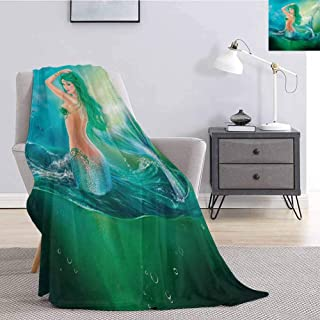 Luoiaax Underwater Faux Fur Blanket Warm Cozy Mermaid in Ocean on Waves Tail Sea Creatures Dramatic Sky Dark Clouds Print Soft Warm Plush Blanket W70 x L84 Inch Blue Green
