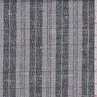 Grey/Slate Stripe Check Linen Blend Suiting, Fabric by The Yard