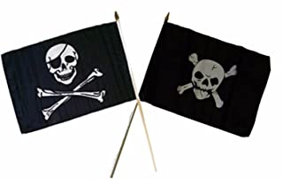 ALBATROS 12 inch x 18 inch Pirate Eye Patch with Crossbones Stick Flag for Home and Parades, Official Party, All Weather Indoors Outdoors