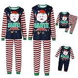 Whitzard - Conjunto de pijama familiar con cuello redondo, manga larga, para Navidad, ropa de dormir, a rayas, ropa de ocio, unisex (camiseta + pantalón)
