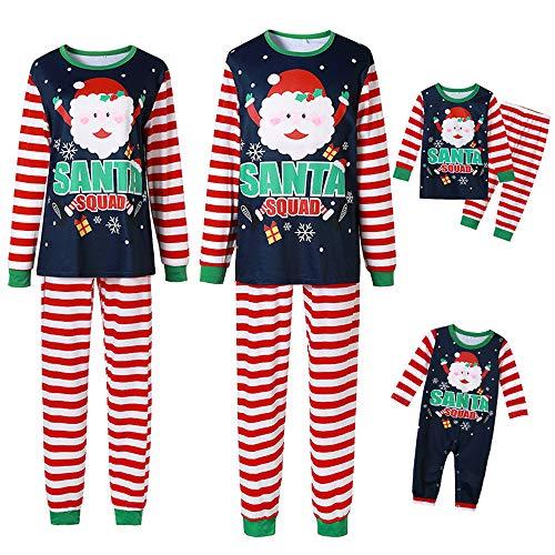 Whitzard - Conjunto de pijama familiar con cuello redondo, manga larga, para Navidad, ropa de dormir, a rayas, ropa de ocio, unisex (camiseta + pantalón) Para bebé. 6 Meses
