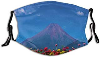 SURERUIM Midsummer Blue Skies in A Highland Flowers Field Early Summer Outdoor Scene Touristic Fabric Half Face Mask Mouth Masks with Earmuffs Anti Dust Anti Haze Windproof Mask