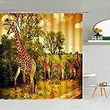 Giraffe Duschvorhang Dschungel Wilde Tiere Grüner Wald Savannah Polyester Stoff Gardinen Mit Haken Set Für Badezimmer Dekor 180x180cm