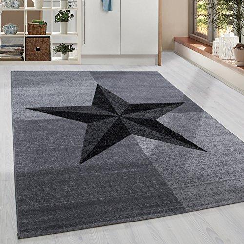 Kurzflor Design Teppich Stern Muster Wohnzimmer Kompassrose Grau Schwarz Meliert, Grösse:120x170 cm
