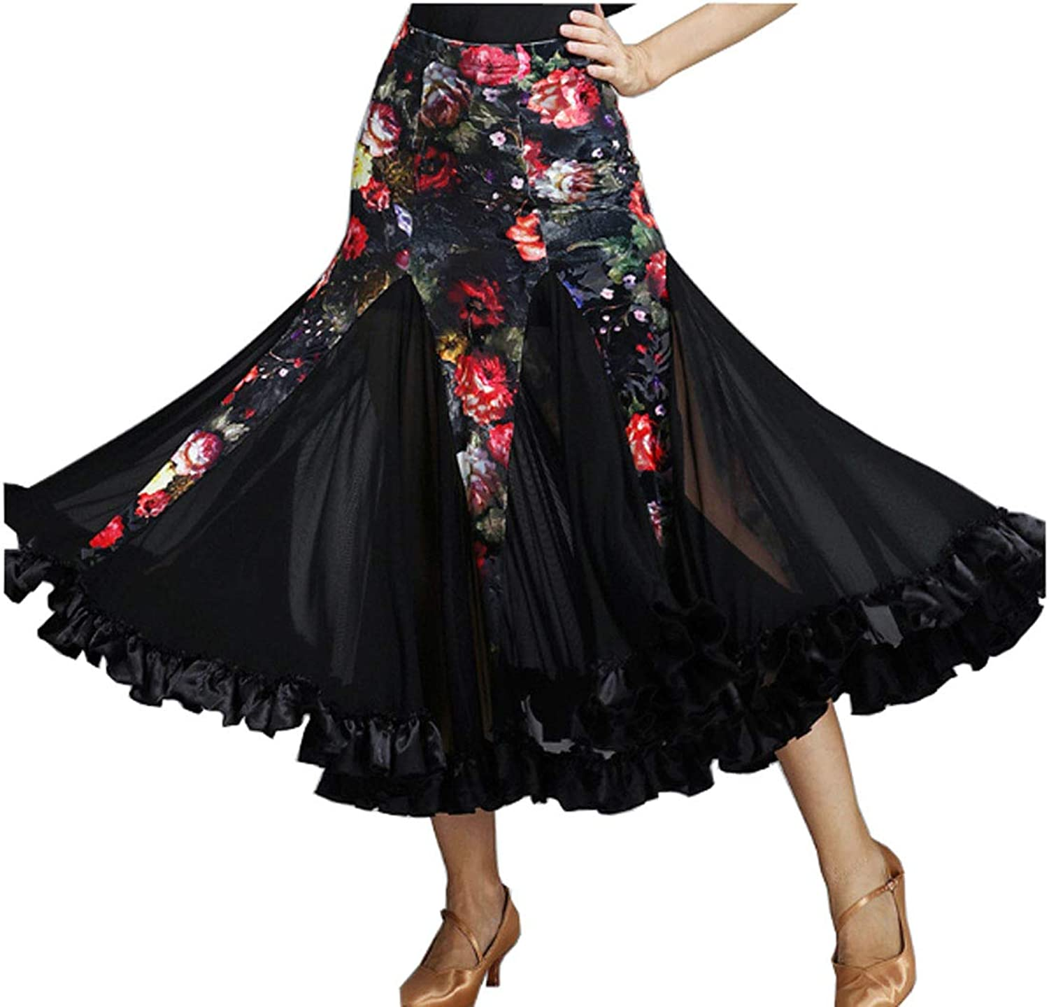 CHAGME Modern Dance Skirt Big Swing Skirt Velvet Bag Hip Latin Skirt Tango Dress