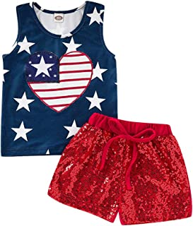 Jhxu-Kids 4th of July Baby Girl Outfit for 6M-4Y Girls Toddler American Flag Vest + Sequin Short Set