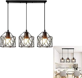 Chao Zan Lámpara LED Nordic Creative de hierro, 3 E27, geométrica, vintage, industrial, de metal, lámpara de techo, para salón, comedor, restaurante, color negro