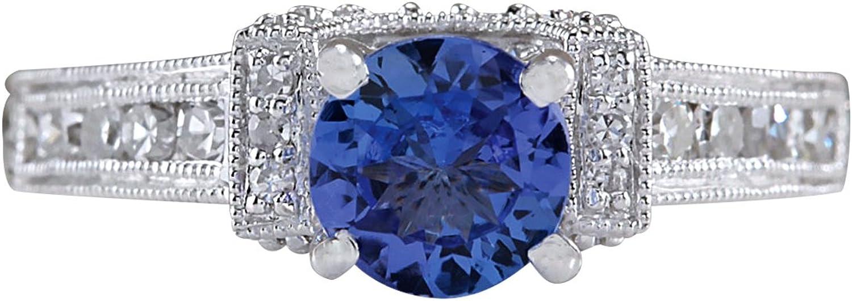 1.4 Carat Natural bluee Tanzanite and Diamond 14K White gold Engagement Ring for Women