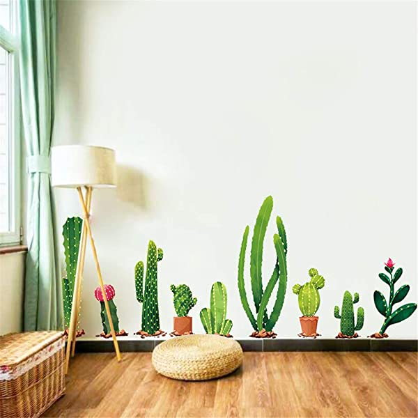 ALOVEWE Cactus Wall Decal Cartoon Potted Green Plants Wall Sticker Tropical DIY Cacti Stickers Novelty Wall Art Mural For Classroom Offices Bedroom Living Room Home Decoration 1 Pack