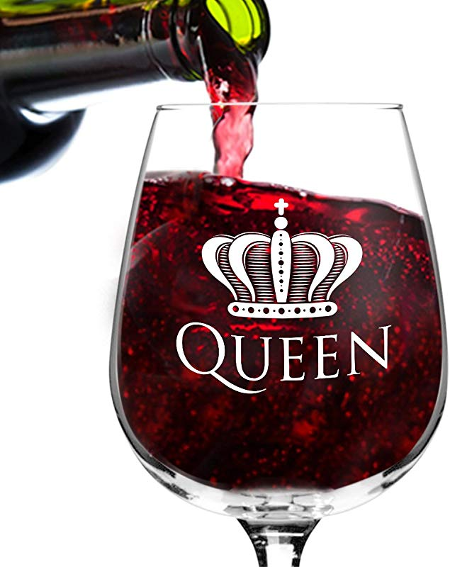 Queen Funny Novelty Wine Glass 12 75 Oz Humorous Present For Mom Women Friends Or Her Bridal Shower Engagement Or Wedding Favor Made In USA