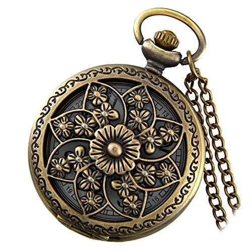 LANCARDO Taschenuhr Vintage Herren Damen Uhr Analog Quarz mit Kette Bronze Kettenuhr Pullover Kette Weihnachten Geschenk