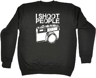 123t Funny Novelty Funny Sweatshirt - I Shoot People White - Sweater Jumper