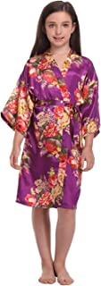 Girls Floral Satin Robes Getting Ready Kimono Robes for Wedding Party