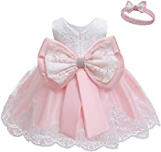 LZH Baby Girls Formal Dress Bowknot Baptism Embroidery Tutu Dress with Headwear