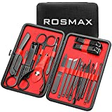 Rosmax Manicure Set, 18 Pcs Manicure Kit Professional, Black Stainless Steel Nail Clipper Set & Manicure Tools with Portable Stylish Case