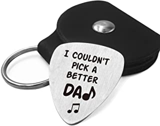 Best Dad Gifts - Father Love Quotes Stainless Steel Guitar Pick with Guitar Pick Holder Case - I Couldn't Pick a Better Da...