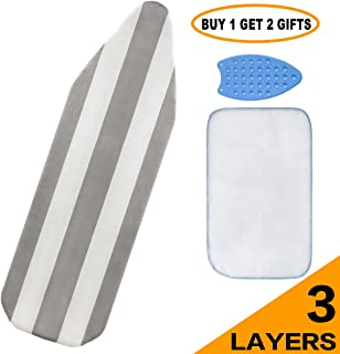 Ironing Board Cover and pad - 15x54 Iron Board Cover with padding Quick Install Buckles Ironing Board Covers 3 Layers Cotton Stripe Elastic Edges Heat Reflective TableTop Cover for Ironing Board