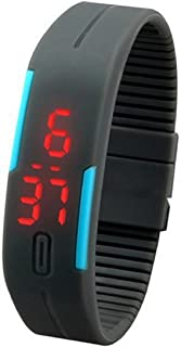 Lookatool New Ultra Thin Men Girl Sports Silicone Digital LED Sports Wrist Watch (Gray)