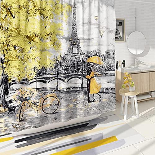 DESIHOM Gelber grauer Paris Duschvorhang Eiffelturm Duschvorhang Europäischer Stadt-Duschvorhang Polyester wasserdicht 157 x 183 cm