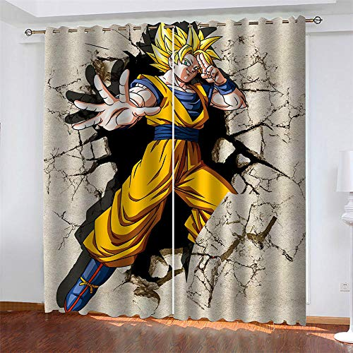 Mar Patrón 2 Paneles Cortinas Opacos Impresas Anime Dragon Ball y Monkey King Aislantes Térmicas Cortina con Ojales Dormitorio Habitación Infantil Estilo Decorativo 234 x 138 cm (LxA)