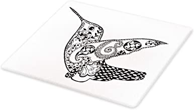 Ambesonne Bird Cutting Board, Monochrome Style Zentangle Style Flying Hummingbird Silhouettes Print, Decorative Tempered Glass Cutting and Serving Board, Large Size, Charcoal Grey and White