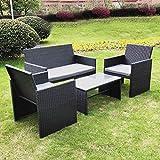 Olsen & Smith 4 Piece Rattan Outdoor Garden Patio Furniture Set - 1x Love Seat Sofa + 2x Chairs + 1x Table (Black)