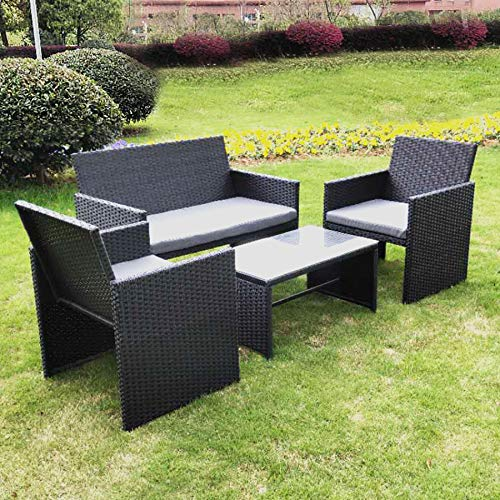 Olsen & Smith 4 Piece Rattan Outdoor Garden Patio Furniture Set - 1x Love Seat Sofa + 2x Chairs + 1x Table (Black)