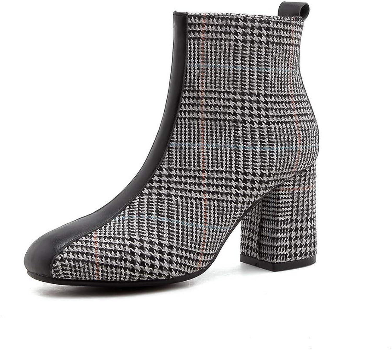 AdeeSu Womens Chunky Heels Zipper Cow Leather Boots SXE04232