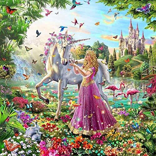 MTRSLH Malen Nach Zahlen 40 X 50Cm DIY Leinwand Gemälde Für Erwachsene Und Kinder,Enthält Acrylfarben Und 3 Pinsel Pegasus Und Mädchen