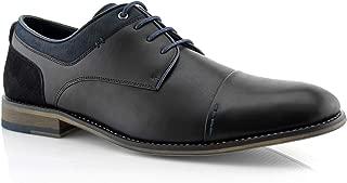 Alexander MPX19610L Men's Classic Memory Foam Vegan Leather Lace-Up Cap Toe Suede Oxford Dress Shoes
