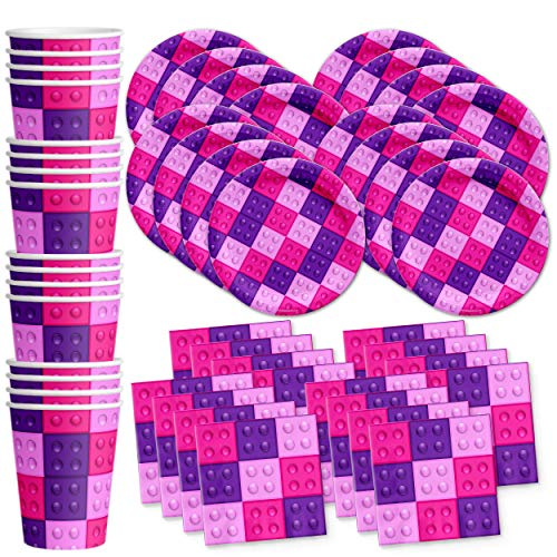 Pink Building Blocks Birthday Party Supplies Set Plates Napkins Cups Kit for 16